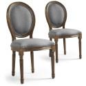 Lot de 2 chaises de style médaillon Louis XVI Tissu Gris