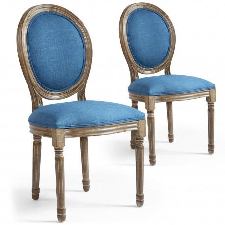 Lot de 2 chaises de style médaillon Louis XVI Tissu Bleu