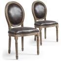 Lot de 2 chaises de style médaillon Louis XVI Simili (P.U) Effet Vieilli