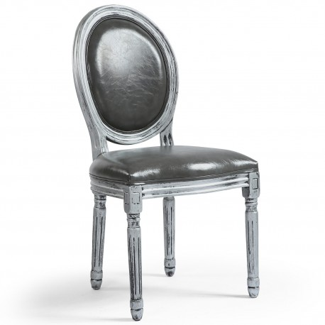 Lot de 2 chaises de style médaillon Louis XVI Simili (P.U) Gris bois patiné Argent