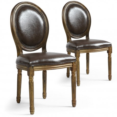 Lot de 2 chaises de style médaillon Louis XVI Simili (P.U) Marron bois patiné Or