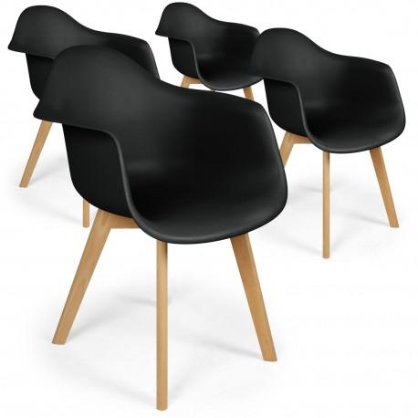 Lot de 4 chaises scandinaves design Prado Noir