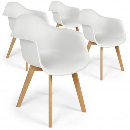 Lot de 4 chaises scandinaves design Prado Blanc
