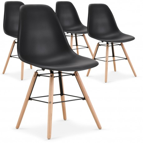 Lot de 4 chaises scandinaves Lisa Noir