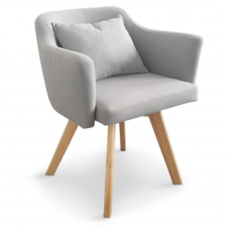 Lot de 2 fauteuils scandinaves Dantes Tissu Gris