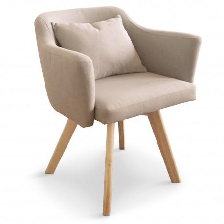 Lot de 2 fauteuils scandinaves Dantes Tissu Beige