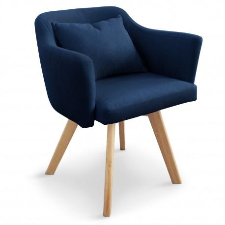 Lot de 2 fauteuils scandinave Dantes Tissu Bleu