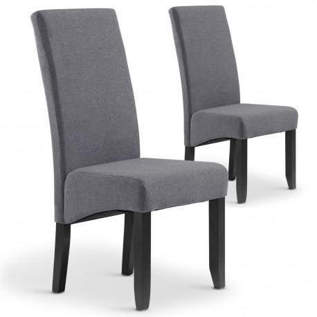 Lot de 2 chaises Paris tissu Gris clair