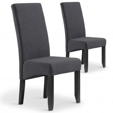 Lot de 2 chaises Paris tissu Gris foncé