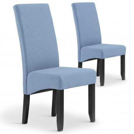 Lot de 2 chaises Paris tissu Bleu clair