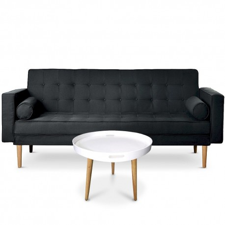 Canapé convertible scandinave Yamato Tissu Noir + Table basse ronde style scandinave Typik Blanc