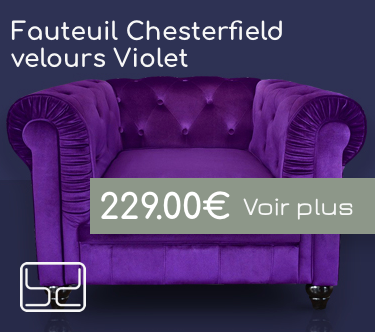 Fauteuil chesterfield velour violet
