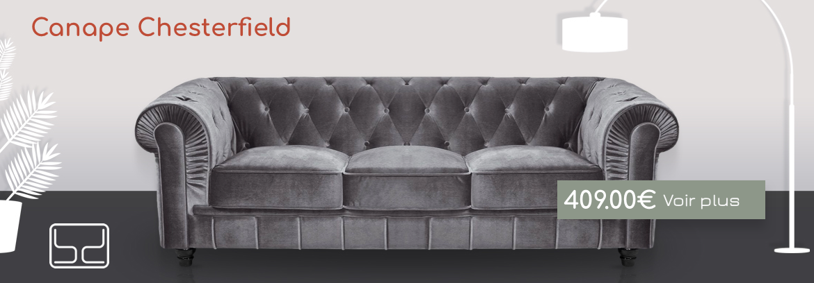 canapé chesterfield gris velour